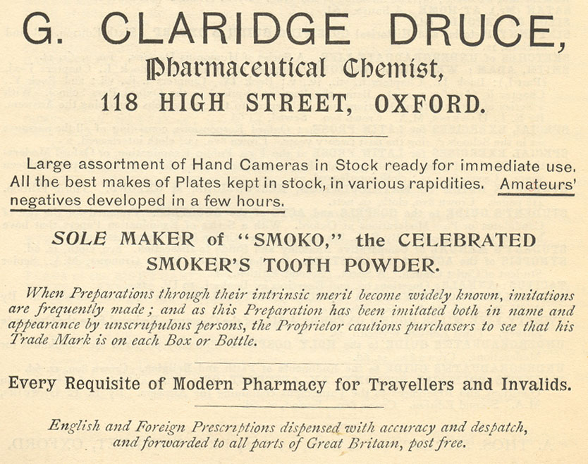 Advert for Druce's chemist's shop