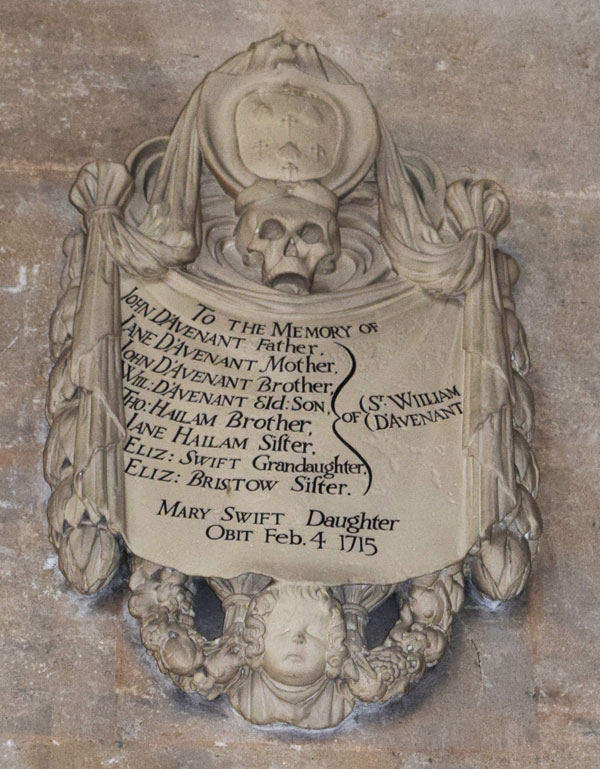 Memorial tablet to Davenant family