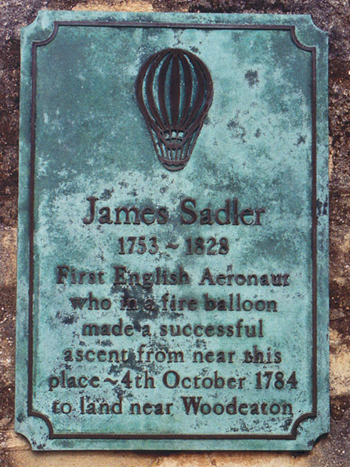 Plaque to Sadler in Christ Church Meadow