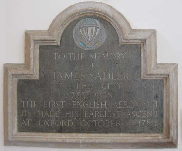 Sadler plaque inside church